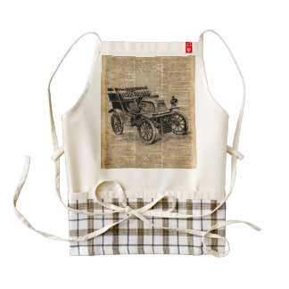 Classic Old Car,Vintage Vehicle Dictionary Art Zazzle HEART Apron