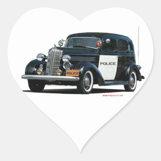 Classic_Old_Police_Car Pegatina En Forma De Corazón