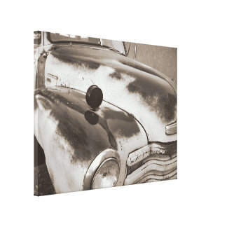 Classic old truck sepia wrapped canvas