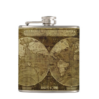 Classic old world Maps the Globe Hip Flask