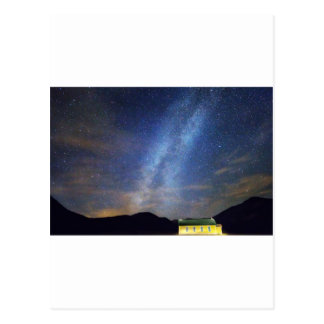 Classic Old Yellow School House Milky Way Sky Post Cards