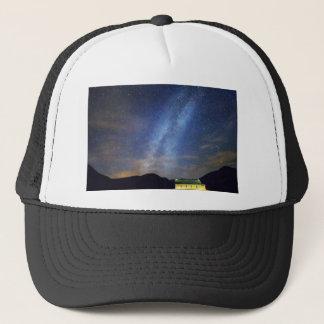 Classic Old Yellow School House Milky Way Sky Trucker Hat