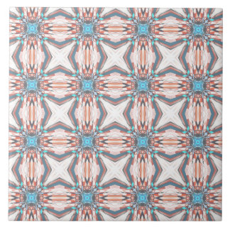 Classic Orange And Blue Pattern Large Square Tile