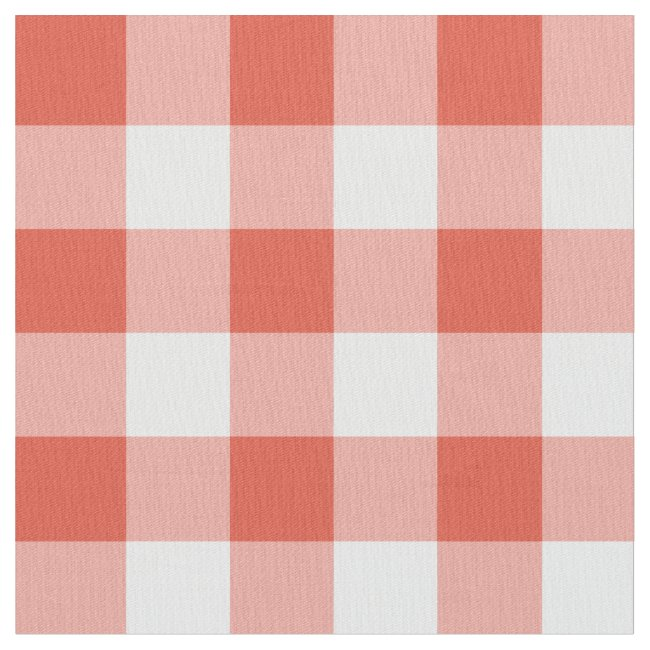 Classic Orange and White Gingham Plaid Fabric