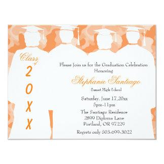 Classic Orange Camo Elegant Graduation Invitation