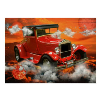 Classic orange car flies in the clouds posters