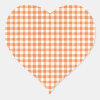 Classic Orange Picnic Gingham Heart Sticker