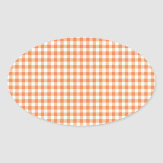 Classic Orange Picnic Gingham Oval Sticker