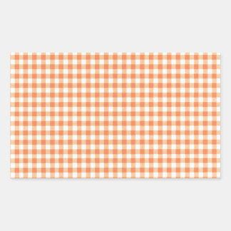 Classic Orange Picnic Gingham Rectangular Sticker