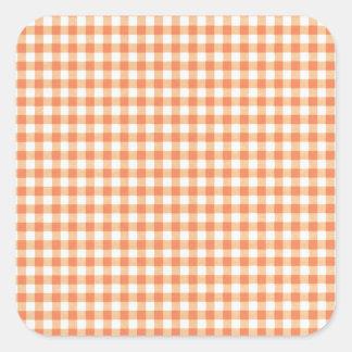 Classic Orange Picnic Gingham Square Sticker
