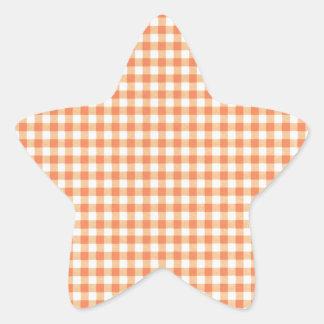 Classic Orange Picnic Gingham Star Sticker