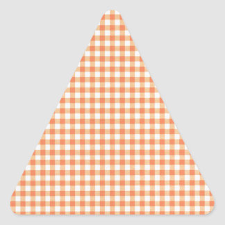 Classic Orange Picnic Gingham Triangle Sticker