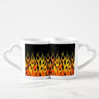 Classic Orange Racing Flames on Fire Coffee Mug Set