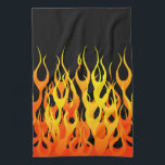 """Classic Orange Racing Flames on Fire Hand Towel<br><div class=""""desc"""">Hot rod racy orange on black pin stripe flames graphic design decor that can always make for a great custom gift for yourself or for someone special on your list, these are sure to make an impression on any festive occasions. Email us using the &quot;Ask this Designer&quot; email link below...</div>"""