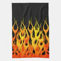 Classic Orange Racing Flames on Fire Hand Towel