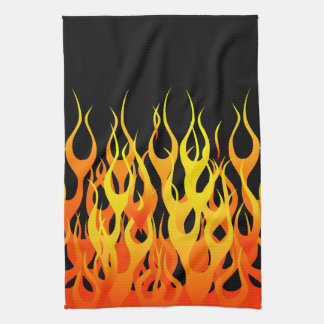 Classic Orange Racing Flames on Fire Towel