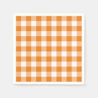 Classic Orange White Gingham Check Pattern Napkin