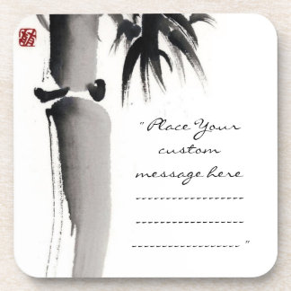 Classic oriental chinese sumi-e ink bamboo tree beverage coaster