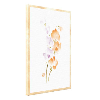 Classic oriental chinese sumi-e ink flower paint c gallery wrap canvas
