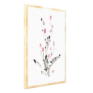 Classic oriental chinese sumi-e ink flower paint stretched canvas print