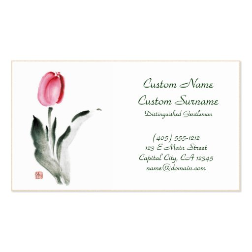 Classic oriental chinese sumi-e ink flower tulip business card