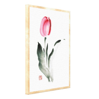 Classic oriental chinese sumi-e ink flower tulip gallery wrapped canvas