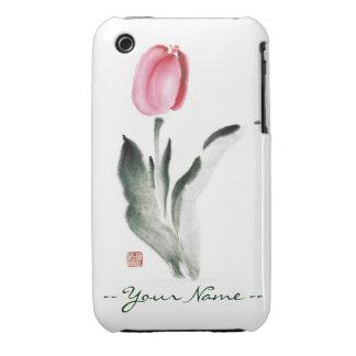 Classic oriental chinese sumi-e ink flower tulip iPhone 3 Case-Mate case