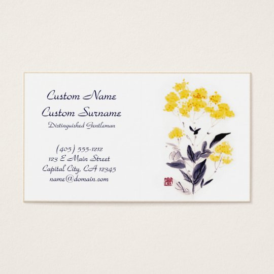 Classic oriental chinese sumi-e ink flowers paint business card