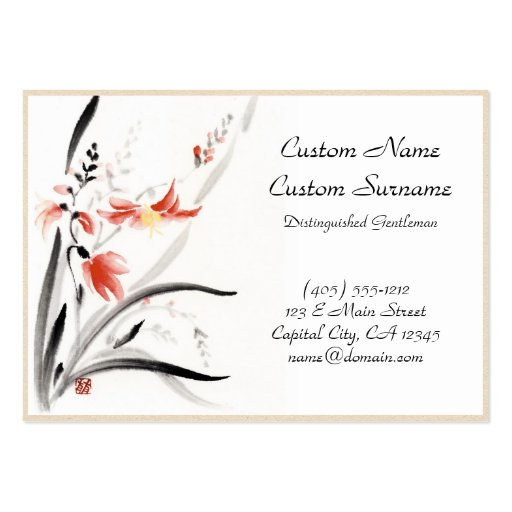 classic oriental chinese sumi e ink flowers paint large business cards pack of 100 zazzle. Black Bedroom Furniture Sets. Home Design Ideas