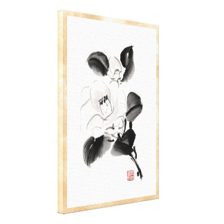 Classic oriental chinese sumi-e ink flowers paint stretched canvas print