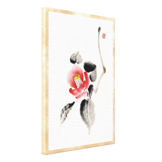 Classic oriental chinese sumi-e ink flowers paint canvas print