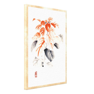 Classic oriental chinese sumi-e ink flowers paint gallery wrap canvas