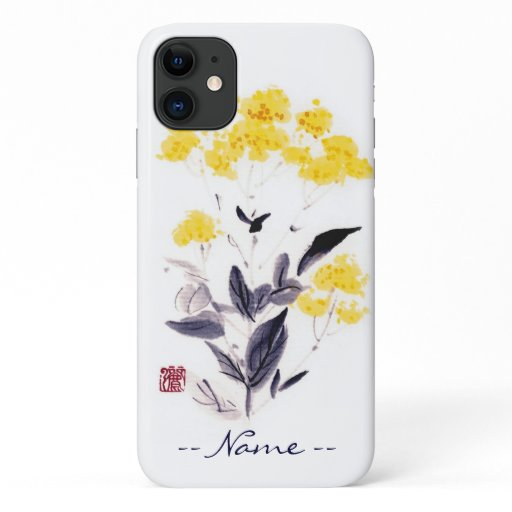 Classic oriental chinese sumi-e ink flowers paint iPhone 11 case