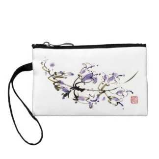 Classic oriental chinese sumi-e ink flowers paint coin purse
