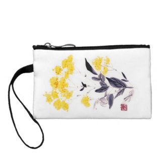 Classic oriental chinese sumi-e ink flowers paint coin wallet