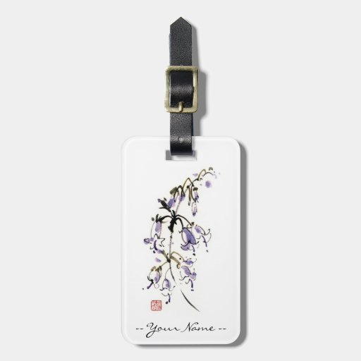 Classic oriental chinese sumi-e ink flowers paint travel bag tag