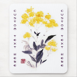Classic oriental chinese sumi-e ink flowers paint mousepad