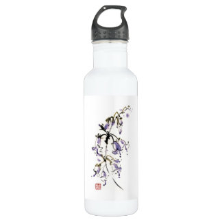 Classic oriental chinese sumi-e ink flowers paint stainless steel water bottle