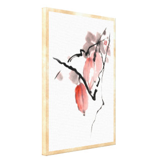 Classic oriental chinese sumi-e ink fruits paint gallery wrapped canvas