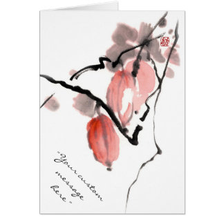 Classic oriental chinese sumi-e ink fruits paint card