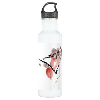 Classic oriental chinese sumi-e ink fruits paint water bottle