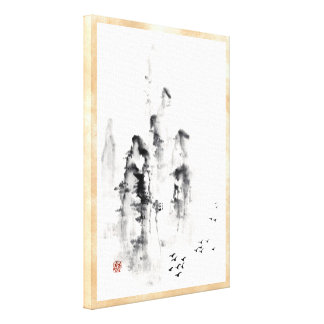 Classic oriental chinese sumi-e ink mountain scene gallery wrap canvas