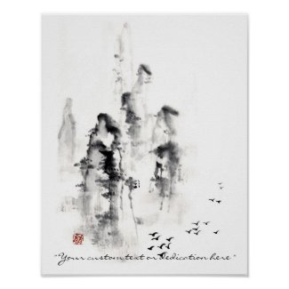 Classic oriental chinese sumi-e ink mountain scene poster