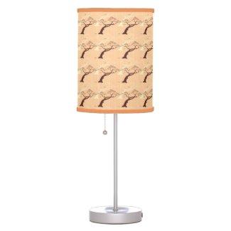 Classic oriental japanese bonsai tree bird stripes desk lamps
