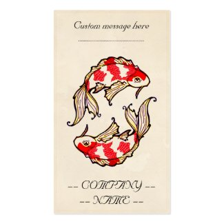 Classic oriental japanese koi carp fish tattoo business card template