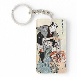 Classic oriental japanese puppeteer ukiyo-e art acrylic keychain