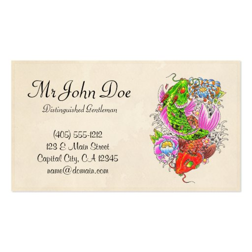 Classic oriental japanese red dragon god tattoo business card