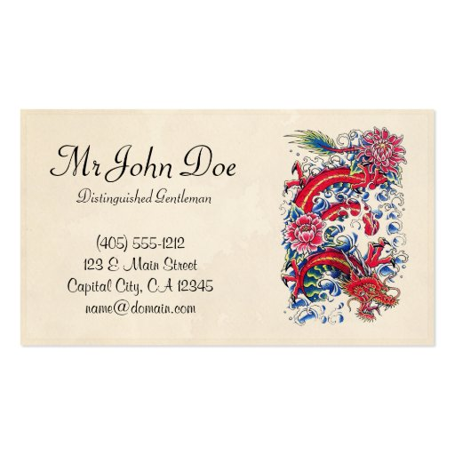 Classic oriental japanese red dragon god tattoo business card template