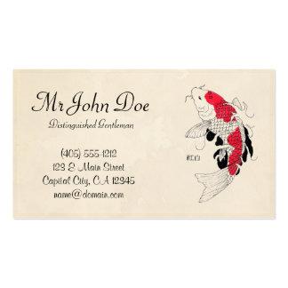 Classic oriental japanese red koi fish tattoo business card
