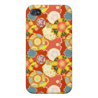 Classic oriental japanese vibrant kimono pattern iPhone 4/4S cover
